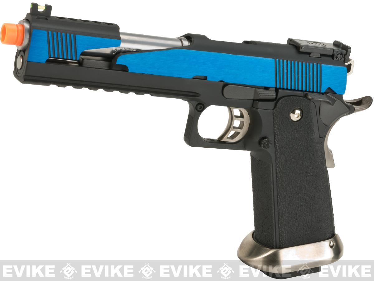 Pre-Order ETA November 2017 WE-Tech  7 Xcelerator Dragon Full Metal Hi-CAPA Airsoft Gas Blowback w/ Ext. Barrel (Color: Blue / Standard Grip)
