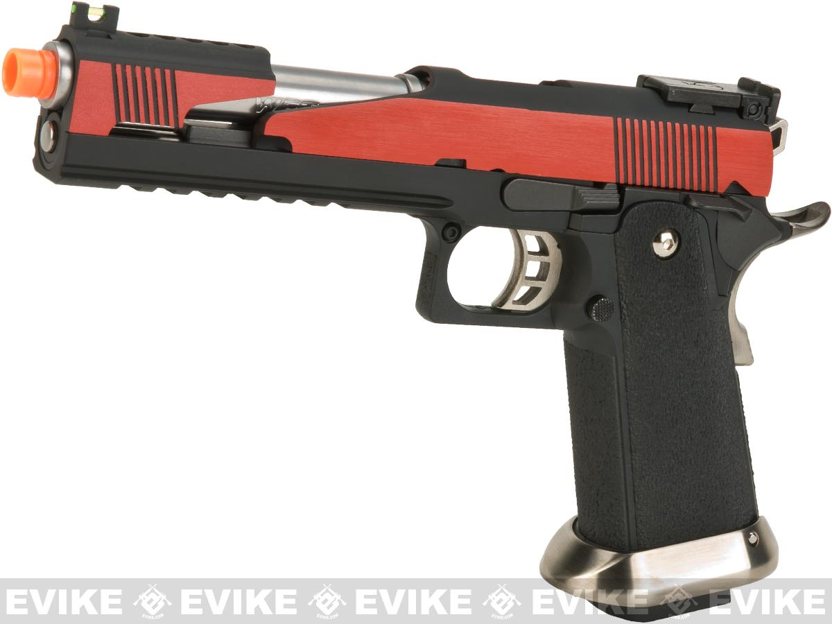 WE-Tech Competition Series Hi-CAPA Gas Blowback Pistol (Model: Alpha Long Slide / Red / Standard Grip)