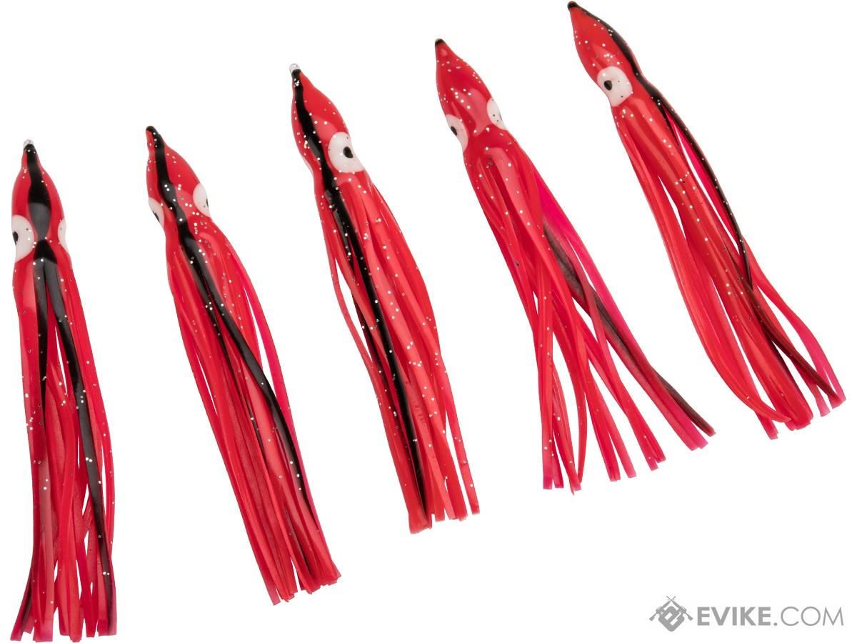 Battle Angler Phantom Skirt Squid Lure (Size: 10 / Red, Black Stripe)