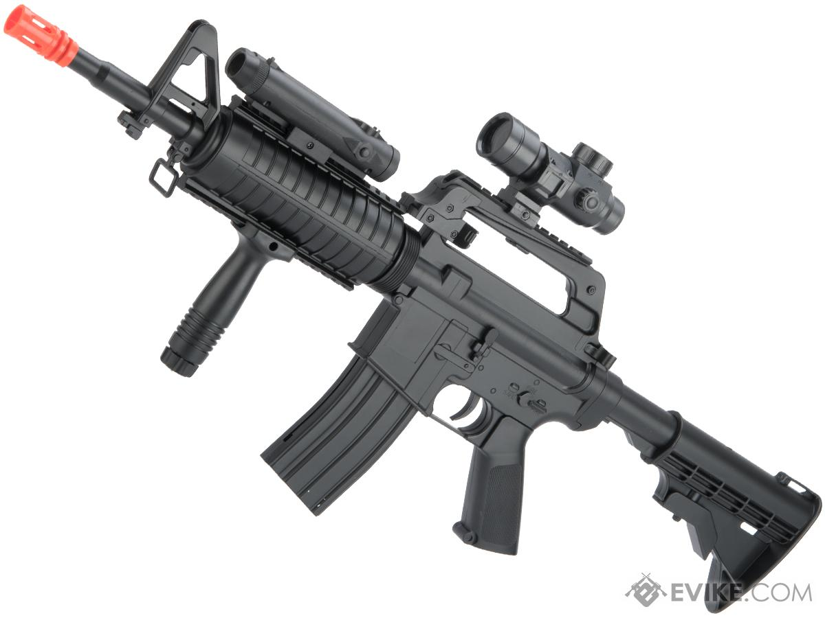 well 3 4 size spring powered m4 style spring rifle with scope and