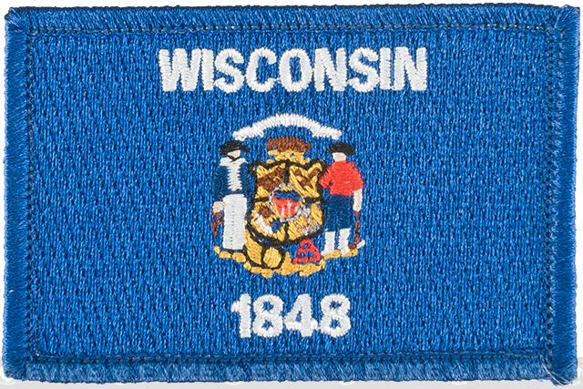 Evike.com Tactical Embroidered U.S. State Flag Patch (State: Wisconsin The Badger State)