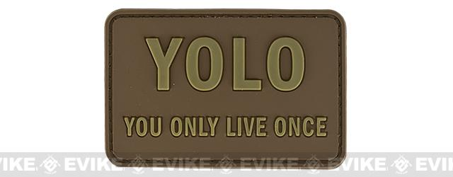YOLO 'You Only Live Once' Tactical PVC Morale Patch (Color: Tan)