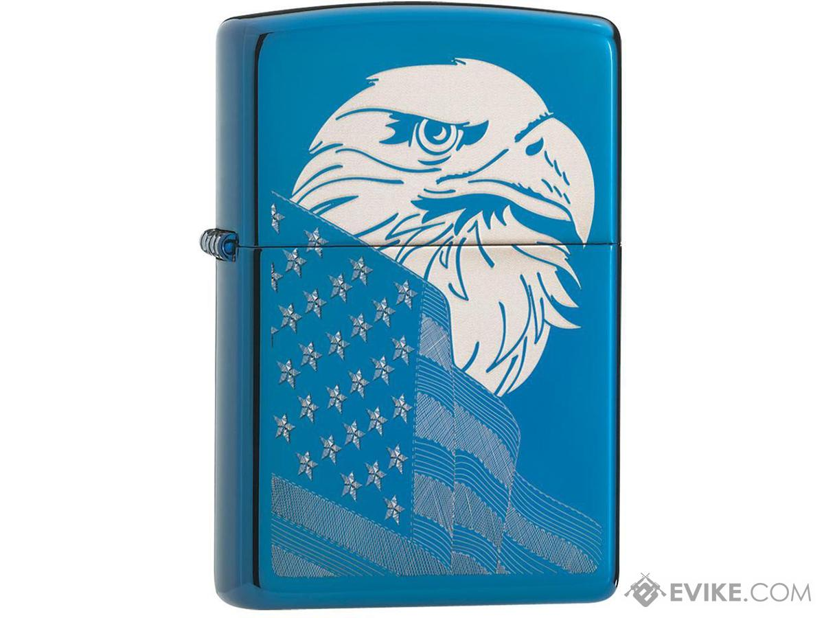 Zippo Classic Lighter Patriotic Series (Model: Eagle and Flag / High Polish Blue)