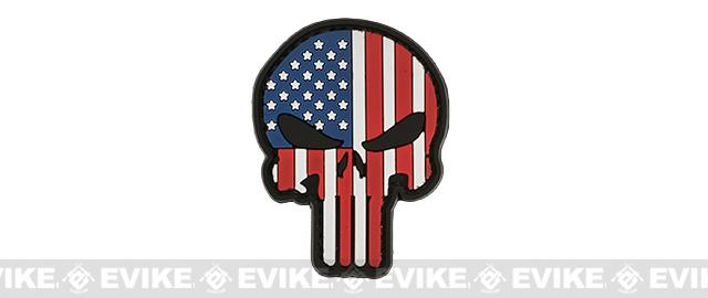Stars & Stripes Skull PVC Morale Hook and Loop Patch
