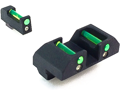 NineBall Hybrid Tritium / Fiber Optic Combat Sight Set for Tokyo Marui TM 18 Gas Blowback Airsoft Pistols (Color: Green)