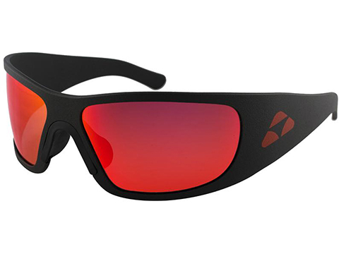 Liquid Eyewear Hammerhead CNC Machined One Piece Aluminum Sunglasses (Color: Matte Black w/ Red Mirror Polarized Lens)