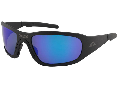 Liquid Eyewear Titan CNC Machined One Piece Aluminum Sunglasses (Color: Matte Black w/ Blue Mirror Polarized Lens)