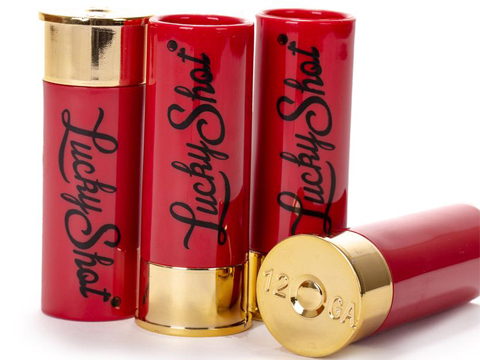 Lucky Shot 12 Gauge Shotgun Shell Shot Glass (Set: 4 Shot Glass Set)