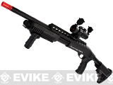 G&P M870 P.T.E. High Power Airsoft Shotgun - MOD Custom with red dot scope & Crane stock