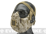6mmProShop V5 Breathable Padded Dual Layered Nylon Half Face Mask w/ Bump Helmet Straps (Color: AOR1)