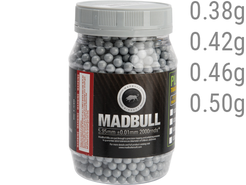 MadBull Ultimate Match Grade Heavy Weight 6mm Airsoft Sniper BB (Model: .46g Stainless Grey / 2000rd Bottle)