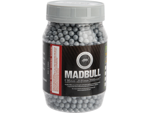 MadBull Ultimate Match Grade Heavy Weight 6mm Airsoft Sniper BB (Model: .42g Stainless Grey / 2000rd Bottle)