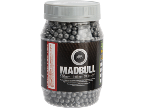 MadBull Ultimate Match Grade Heavy Weight 6mm Airsoft Sniper BB (Model: .50g Stainless Grey / 2000rd Bottle)