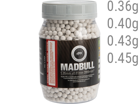 MadBull Premium Match Grade Heavy Weight 6mm Airsoft Sniper BB (Model: .36g White / 2000rd Bottle)