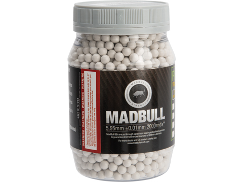 MadBull Premium Match Grade Heavy Weight 6mm Airsoft Sniper BB (Model: .45g White / 2000rd Bottle)