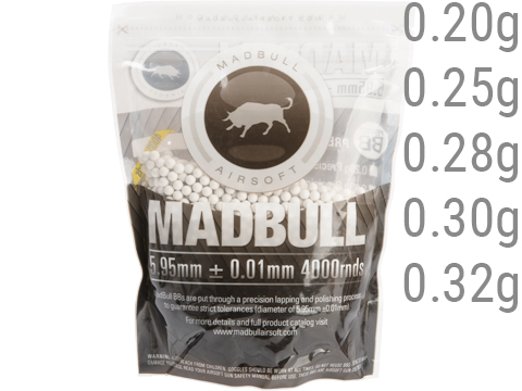MadBull Premium Match Grade 6mm PLA Biodegradable Airsoft BB (Model: .20g White / 4000rd Bag)