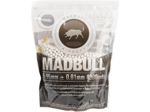 MadBull Premium Match Grade 6mm Airsoft BB (Model: .25g White / 4000rd Bag)