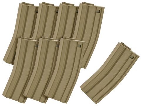 MAG 130rd Midcap Magazine for M4 / M16 Series Airsoft AEG Rifles  (Color: Dark Earth / Set of 8)