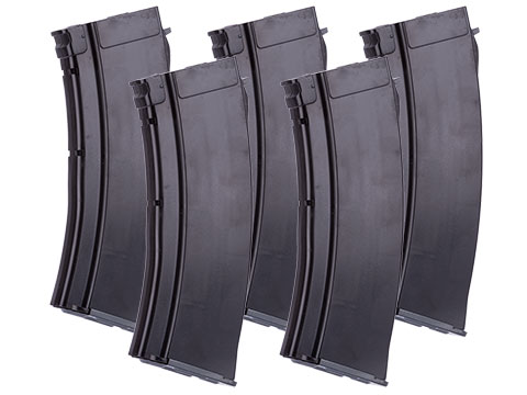 MAG 100 Round Mid-cap Magazine For AK Series Airsoft AEG (Color: Plum / 5.45 Style / Package of 5)