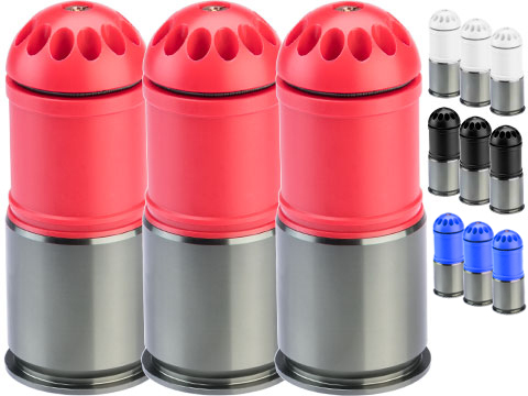 MAG 120rd POM Airsoft Gas Grenade Shell (Color: Black / Pack of 3)