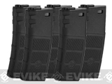 Evike High RPS 130rd Mid-Cap Polymer Magazine for M4 Airsoft AEG Rifles by G&P (Color: Black / 5-Pack)