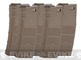G&P Evike High RPS 130rd Polymer Mid-CAP Magazine for M4 M16 Airsoft AEG Rifles - Dark Earth / Set of 5