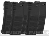 Evike High RPS 360rd Hi-Cap Polymer Magazine for M4 Airsoft AEG Rifles by G&P (Color: Black / 5-Pack)