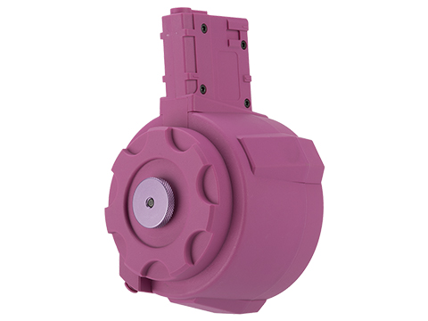 Angel Custom 1500 Round Firestorm Airsoft AEG Drum Flashmag (Color: Hot Pink / M4 Adapter)