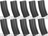 6mmProShop 110rd Midcap Magazine for M4 M16 Series Airsoft AEG Rifles (Color: Black / Set of 10)