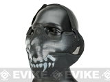 Matrix Iron Face Carbon Steel Striker Gen2 Metal Mesh Lower Half Mask (Color: Black / Skull)