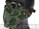 "Matrix Iron Face Carbon Steel ""Striker"" Metal Mesh Lower Half Mask - Woodland Camo"