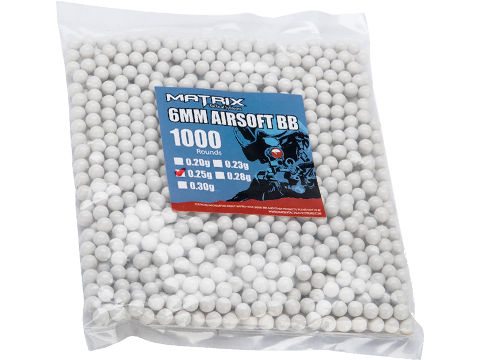 Matrix Match Grade 6mm Airsoft BBs (Weight: .25g / 1000 Rounds / White)