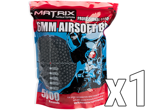 Matrix Match Grade 6mm Airsoft BBs (Weight: .25g / 5000 Rounds / Black)