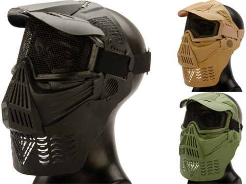 Avengers Mesh Transformer Modular Airsoft Mask w/ Visor & Neck Guard (Color: Desert Tan)