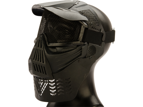 Avengers Mesh Transformer Modular Airsoft Mask w/ Visor & Neck Guard (Color: Black)
