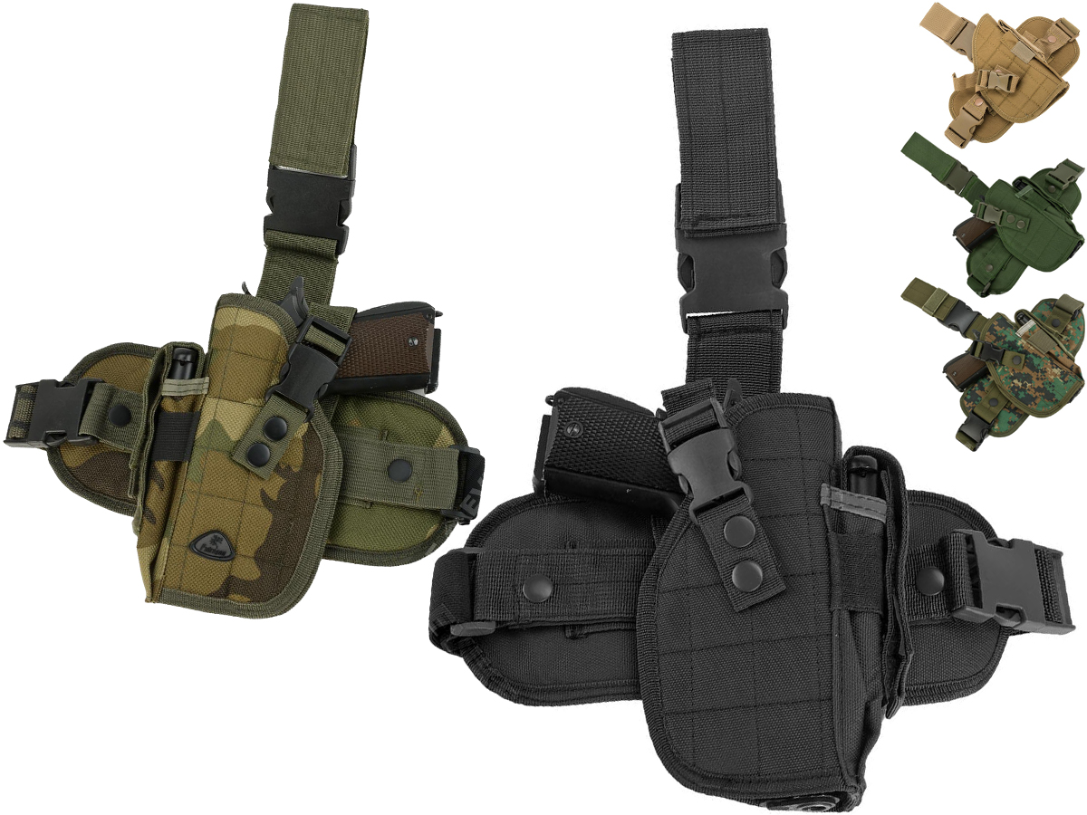 Matrix Special Force Quick Draw Tactical Thigh Holster w/ Drop Leg Panel (Color: Black / Left Leg)