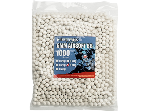 Matrix Match Grade 6mm Airsoft BBs (Weight: .28g / 1000 Rounds / White)