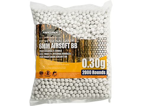 Matrix Match Grade 6mm Airsoft BBs (Weight: .30g / 2000 Rounds / White)
