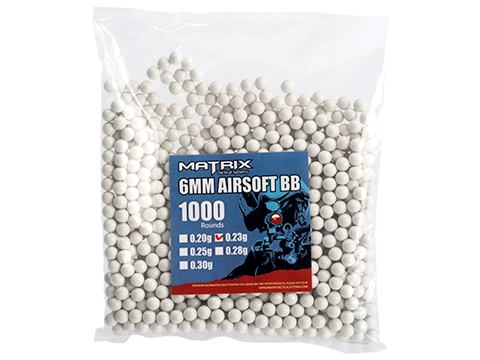 Matrix Match Grade 6mm Airsoft BBs (Weight: .23g / 1000 Rounds / White)