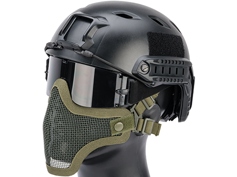 Matrix Iron Face Carbon Steel Mesh Striker V1 Lower Half Mask (Color: OD Green)