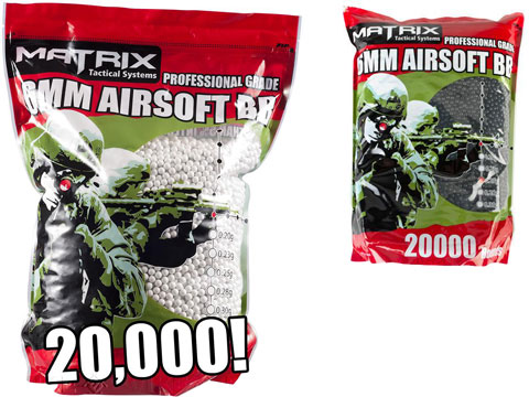 Matrix Match Grade 6mm Airsoft BB Bulk Buy Bag (Weight: .25g / 20000 Rounds / White)