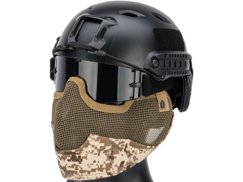 Matrix Iron Face Carbon Steel Striker Gen2 Metal Mesh Lower Half Mask (Color: Digital Desert)