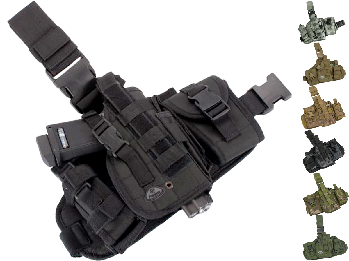 Matrix Drop Leg MOLLE Platform w/ Holster and Pouch Set (Color: Black)