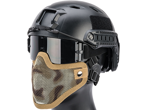 Matrix Iron Face Carbon Steel Mesh Striker V1 Lower Half Mask (Color: Desert Camo)