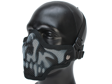 Matrix Iron Face Carbon Steel Mesh Striker V1 Lower Half Mask (Color: Black Skull)