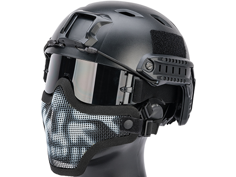 Matrix Iron Face Carbon Steel Mesh Striker V1 Lower Half Mask (Color: Black / Skull)