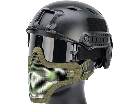 Matrix Iron Face Carbon Steel Mesh Striker V1 Lower Half Mask (Color: Woodland Camo)