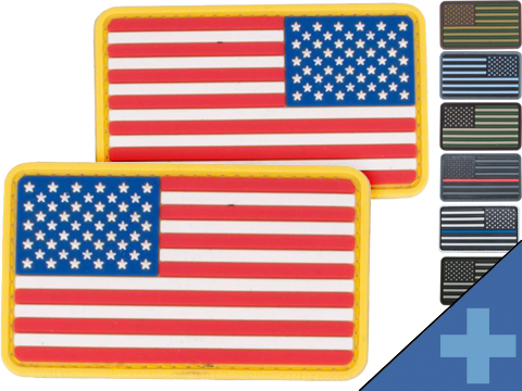 US Flag PVC Hook and Loop Rubber Patch (Color: Regular / Red White & Blue)
