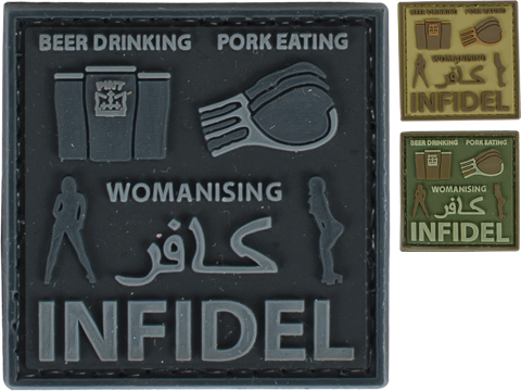 Very Tactical Beer Drinking, Pork Eating, Womanizing Infidel PVC Hook and Loop Patch (Color: Black)