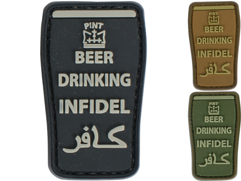 Very Tactical Beer Drinking Infidel PVC Hook and Loop Patch (Color: Black)